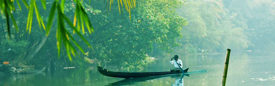 Las backwaters, en Kerala, India